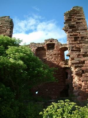 macduff castle, looking into the interior of the castle tower