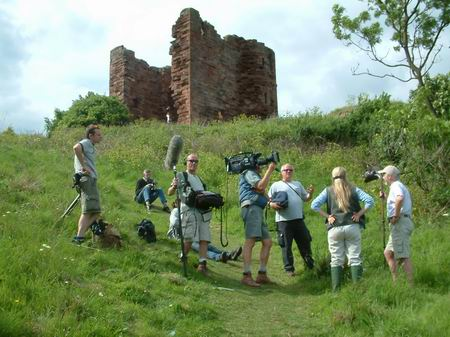 wemyss caves, vew of film crew below the castle
