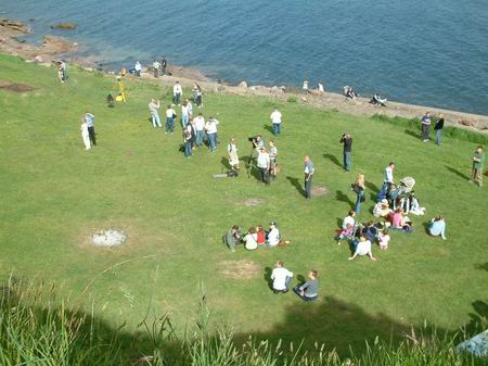 wemyss caves, view looking down on castle green