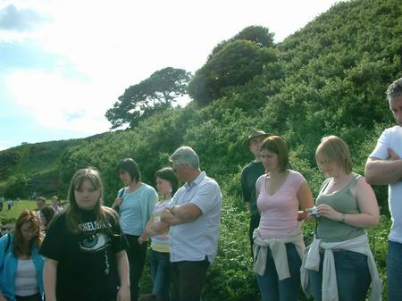 wemyss caves, locals watch the filming